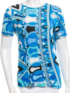 Emilio Pucci Longsleeve Print Monogram Top Blue, White, Black