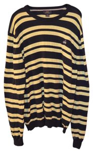 Brooks Brothers Brooks Brothers Navy Blue & Yellow Striped Logo Light Weight Sweater Size XL