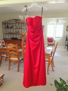 Alfred Angelo Cherry Red Polyester Interlining: 50% Polyester %50 Cotton Mo18-6493 Formal Bridesmaid/Mob Dress Size 8 (M)
