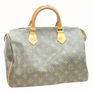 Louis Vuitton Leather Speedy Monogram Satchel in BROWN