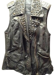AllSaints Leather Studded Embroidered Vest