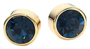 Michael Kors NWT MICHAEL KORS Park Ave Gold Steel BLUE Stone Stud Earrings MKJ4718710