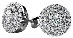 Avi and Co 1.09 cttw Round Brilliant Cut Diamond Double Halo Stud Earrings 14K White Gold
