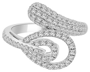 Avi and Co 1.05 cttw Ladies Round Brilliant Cut Pave Diamond Fashion Ring 18K White Gold