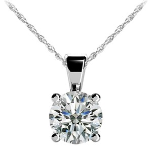 Avi and Co 1.00 ct. Round Brilliant Diamond Solitaire Pendant G-H/SI 14K White Gold