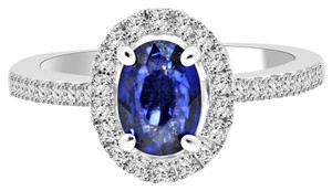Avi and Co 1.88 cttw Oval Shape Sapphire & Round Cut Diamond Halo Ring 18K White Gold