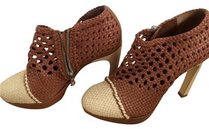 Dries van Noten Woven Leather Stiletto Bohemian Brown Boots