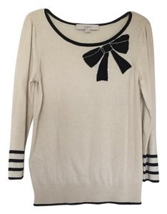 Ann Taylor LOFT White Bows Sweater Top Cream