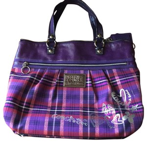 Coach Tote in Purple Plaid