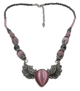Pink Cat's Eye and Hematite w Austrian Crystals Necklace w Free Shipping