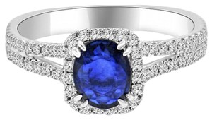 Avi and Co 2.06 cttw Oval Shape Sapphire & Round Cut Diamond Halo Ring 18K White Gold