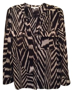 Calvin Klein Button Down Shirt Black and white zebra