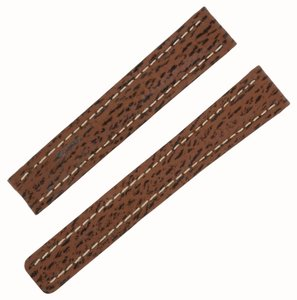 Breitling Breitling 15 -14 mm Genuine Brown Shark Leather Watch Band (12088)