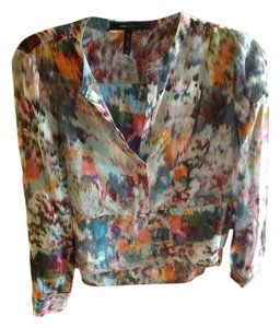 BCBGMAXAZRIA Bcbg Black Katee Shirt Top Multi colored- turquoise,rust,move white