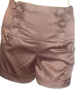 Space Girlz Cuffed High Waist Vintage Cuffed Shorts Brown, Dark Brown