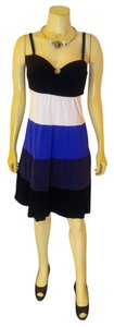 INC International Concepts short dress blue, black, white Summer Size Large on Tradesy