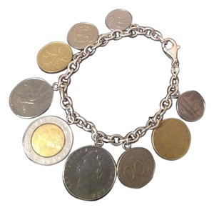 "Silver Style Authentic Silver Style Italian Lire Coin Charm Bracelet ""NWT"" Size 8"