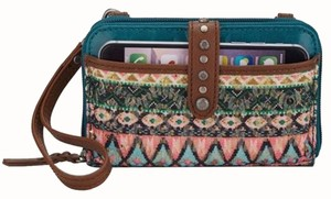 The Sak NWT! Iris Leather Teal Tribal Smartphone iPhone 6 Cross Body Wristlet