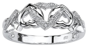 Lux Diamond Jewelry Lux White Diamond Hearts Promise Ring, in Red Ring Box