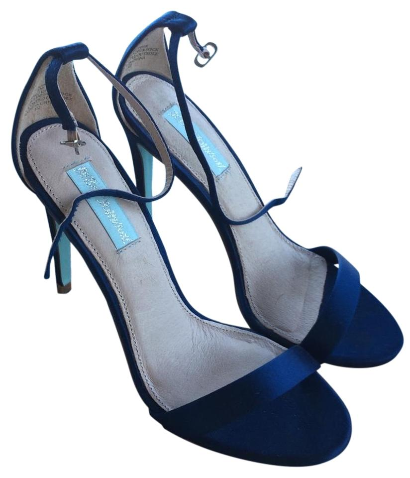 Betsey Johnson In Navy Blue Sarah Strappy In Johnson Satin Heels Sandals 7cf859