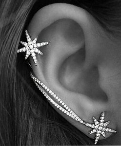 Shooting star Galaxy ear climber, ear pin, Rhinestone crystal silver ear climber crawler, ear cuff, ear pin earring 2016 jewelry trend