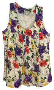 Kate Spade Floral Top White, Floral, Red, Purple, Yellow, Green