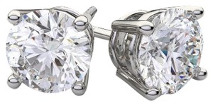 Avi and Co 0.95 cttw Round Brilliant Cut Diamond Stud Earrings G-H/SI 14K White Gold