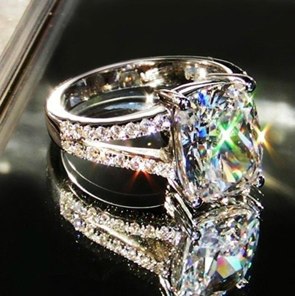 All Sizes 45 5 6 7 8 In Stock Diamond Ring Cushion Pt950 Lab Man  Certified
