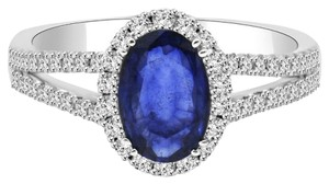 Avi and Co 2.54 cttw Oval Shape Sapphire & Round Diamond Halo Ring 18K White Gold