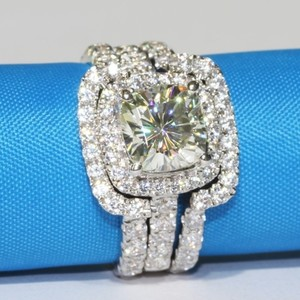 Certified 4ct Vvs1 All Sizes 4.5 5 6 7 8 In Stock Diamond Ring Cushion Pt950 Lab Man Certified 4cttw Band Set Vvs1 Pt950