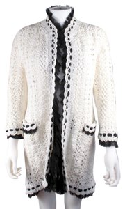 Chanel Cardigan Knit Crochet White Jacket