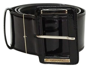 Chanel Chanel Black Patent Extra Wide Belt sz 85