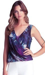 bebe Purple Print Resort Surplice Top Purple/Aqua