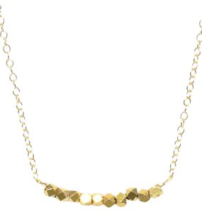 Mei Mei Gold Faceted Brass Bead Delicate Dainty Necklace