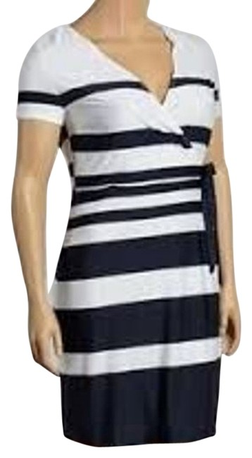 Item - Black and White Stripe 32130-36 Above Knee Work/Office Dress Size 14 (L)