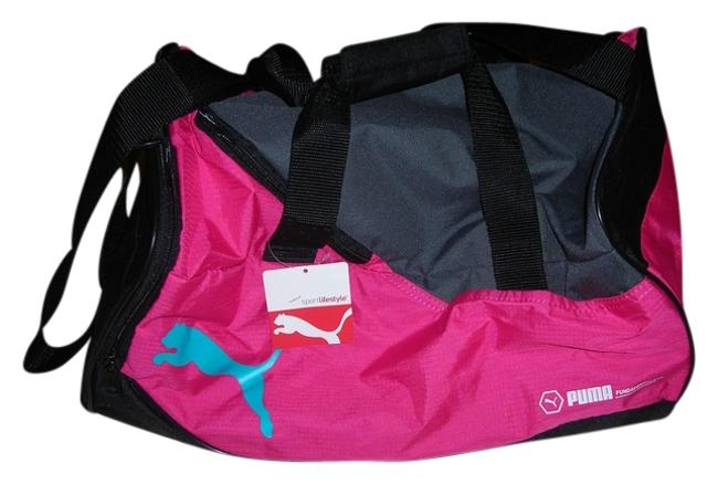 Item - Duffle Gym Pink with Black Gray and Blue Accents Nylon Weekend/Travel Bag