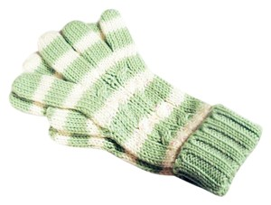 Gap Green & Cream M/L Striped Cable Knit Winter Gloves with Sequins