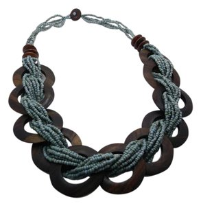 Wood and Teal Seed Beads Necklace 26in w Free Shipping