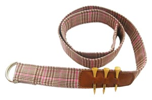 Ame & Lulu Pink & Brown Plaid Golf Belt with Tees