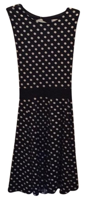 Item - Black and White Polka Dot Knee Length Night Out Dress Size 12 (L)