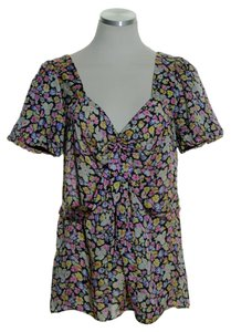 Leifsdottir Silk Bubble Sleeve Top Multi-color