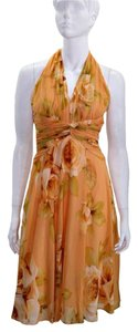 Maggy London Floral Silk Cocktail Yellow Halter Dress