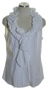 Soft Surroundings Stretch Ruffle Button Down Top White