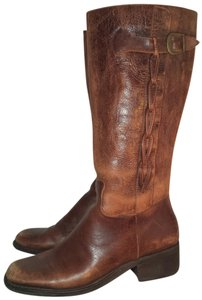Nicole Leather Riding Rope Cognac Saddle Boots