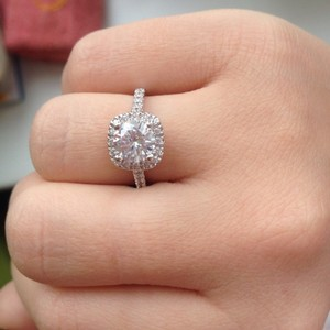 9.2.5 Sterling Silver All Sizes In Stock 4 5 6 7 8 Square Cushion 1 Carat Cz Diamond Ring Engagement Bridal Wedding Hallo