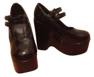 Morbid Threads Patent Leather Never Worn Adorable Mary Janes Black Platforms