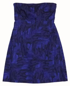 Theory short dress Blue & Black Print Strapless on Tradesy