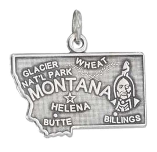 Other Sterling Silver Antiqued Montana State Charm