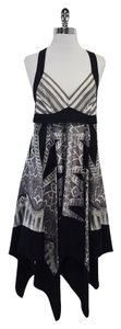 BCBGMAXAZRIA Black Grey Print Silk Sleeveless Dress