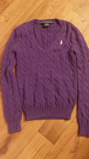 Item - Polo Cable Knit Cotton Purple Sweater